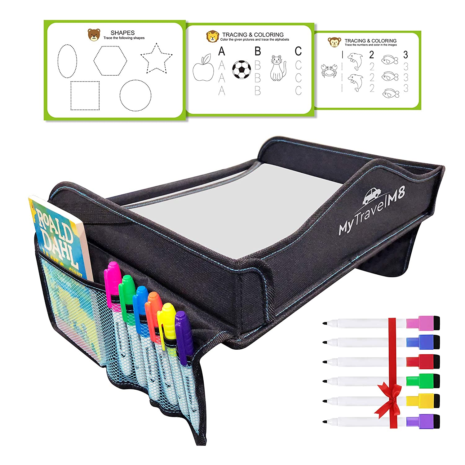 My Travel M8 - Car Seat Tray with Tablet & Cup Holder - Dry Erasable Top - 6 Bonus Markers & 3 Stencils - Kids Travel Tray - Toddler Snack and Play F and N Online