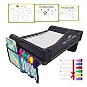 My Travel M8 - Car Seat Tray with Tablet & Cup Holder - Dry Erasable Top - 6 Bonus Markers & 3 Stencils - Kids Travel Tray - Toddler Snack and Play