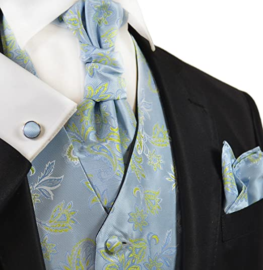 Victorian Mens Ties, Ascot, Cravat, Bow Tie, Necktie Paul Malone Sky Blue and Green Wedding Vest with Tie Cravat Pocket Square and Cufflinks $59.90 AT vintagedancer.com
