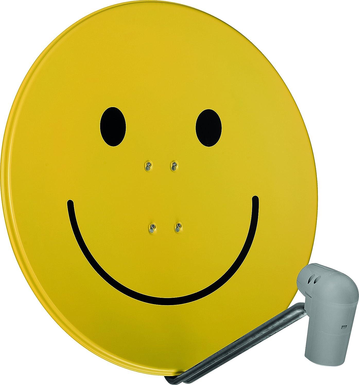 Technisat Satman 850 Plus Satellitenschüssel 85 Cm Sat Spiegel Mit Masthalterung Und Unysat Quattro Lnb Im Wetterschutz Gehäuse Multischalter Wird Benötigt Gelb Mit Smiley Heimkino Tv Video