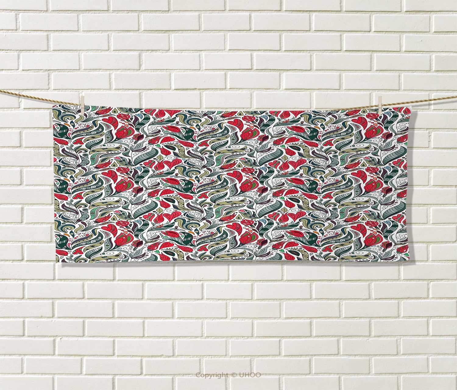 Anniutwo Retro,Hand Towel,Colorful Boho Flowers Pattern Swirl Leaves with Modern Artsy Floral Pattern,Quick-Dry Towels,Grey and Hot Pink Size: W 20'' x L 20'' by Anniutwo (Image #1)