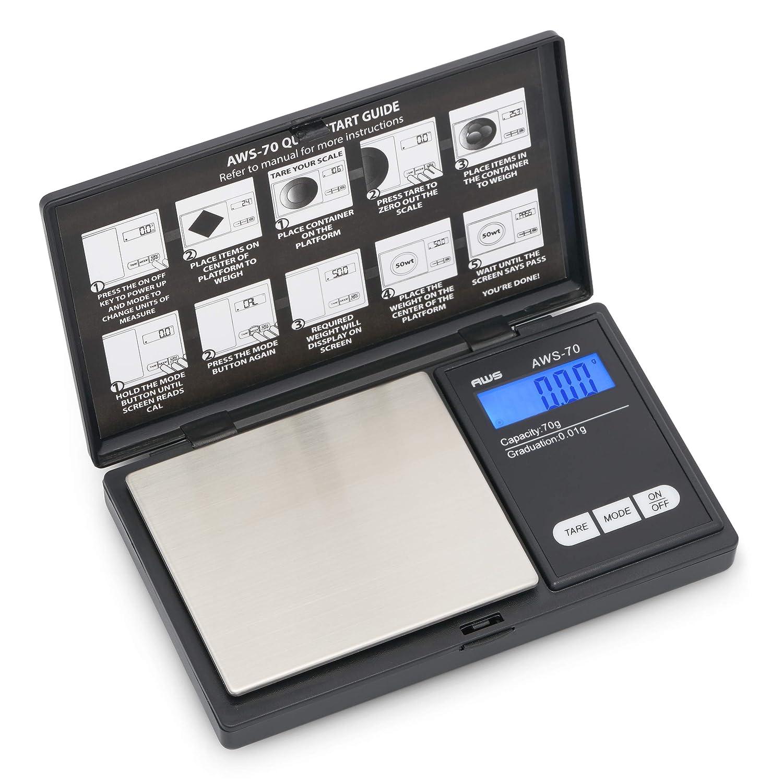 AWS Series Digital Pocket Weight Scale 70g x 0.01g, (Black), AWS-70-BLK