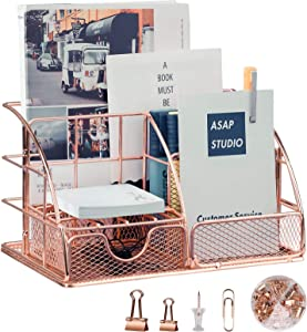 Rose Gold Desk Organizers and Accessories, STRAWBLEAG 6 Compartments Mesh Metal Home Office Desk Organizer with Pen Holders, Accessories Drawer, Including 72 Pcs Office Supplies ( Clips, Push Pins )