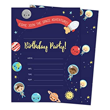 Space Star Galaxy Style 3 Happy Birthday Invitations Invite Cards 25 Count With Envelopes