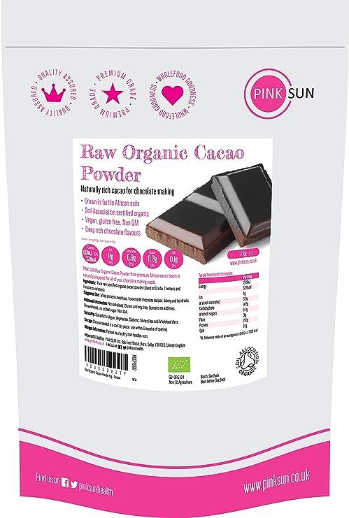 PINK SUN Cacao en Polvo Crudo Orgánico 1kg Bio Puro Sin Azúcar Añadido Sin Gluten Sin Lácteos Vegetariano Vegano Ecologico Raw Organic Cacao Powder ...