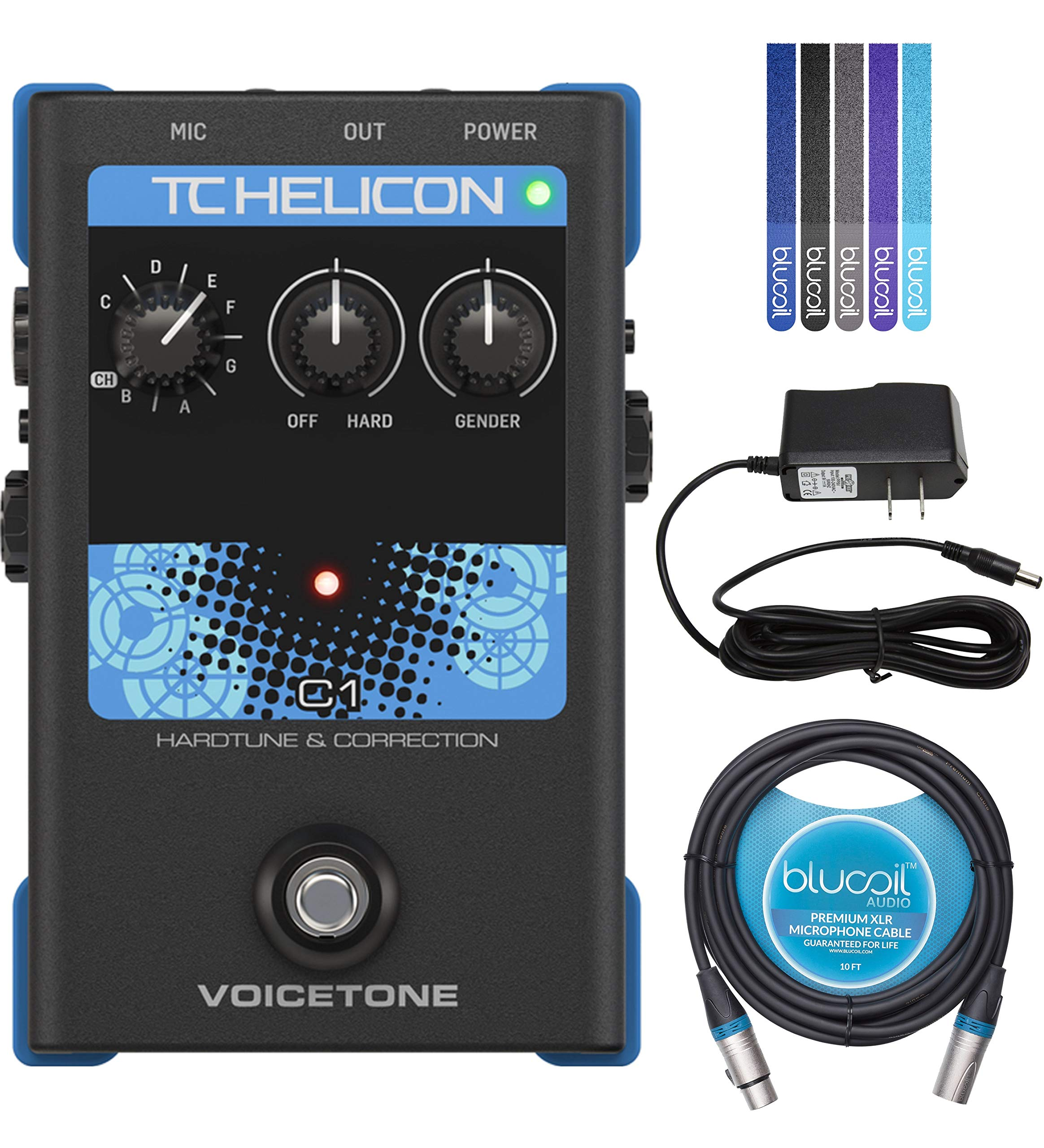 TC Helicon VoiceTone C1 Hardtune and Correction Vocal Effects Pedal Bundle with 12V 400mA DC Power Supply, Blucoil 10-FT Balanced XLR Cable, and 5-Pack of Reusable Cable Ties