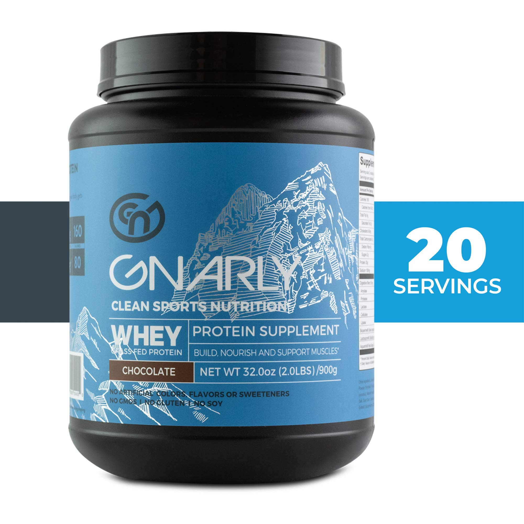 Gnarly Nutrition, Whey Protein Derived from Non-rBGH New Zealand Grass-Fed Cows for Muscle Synthesis, Chocolate, 32 Oz (20 Servings) by Gnarly Nutrition