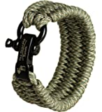 The Friendly Swede Trilobite Extra Beefy 500 lb Paracord Survival Bracelet with Stainless Steel Black Bow Shackle