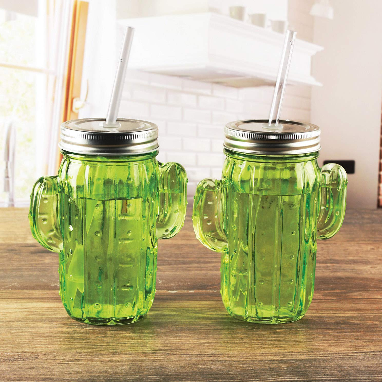 Circleware Green Glass Cactus Mason Sipper with Metal Lid and Straw, Set of 4, 15.5 Oz by Circleware (Image #3)