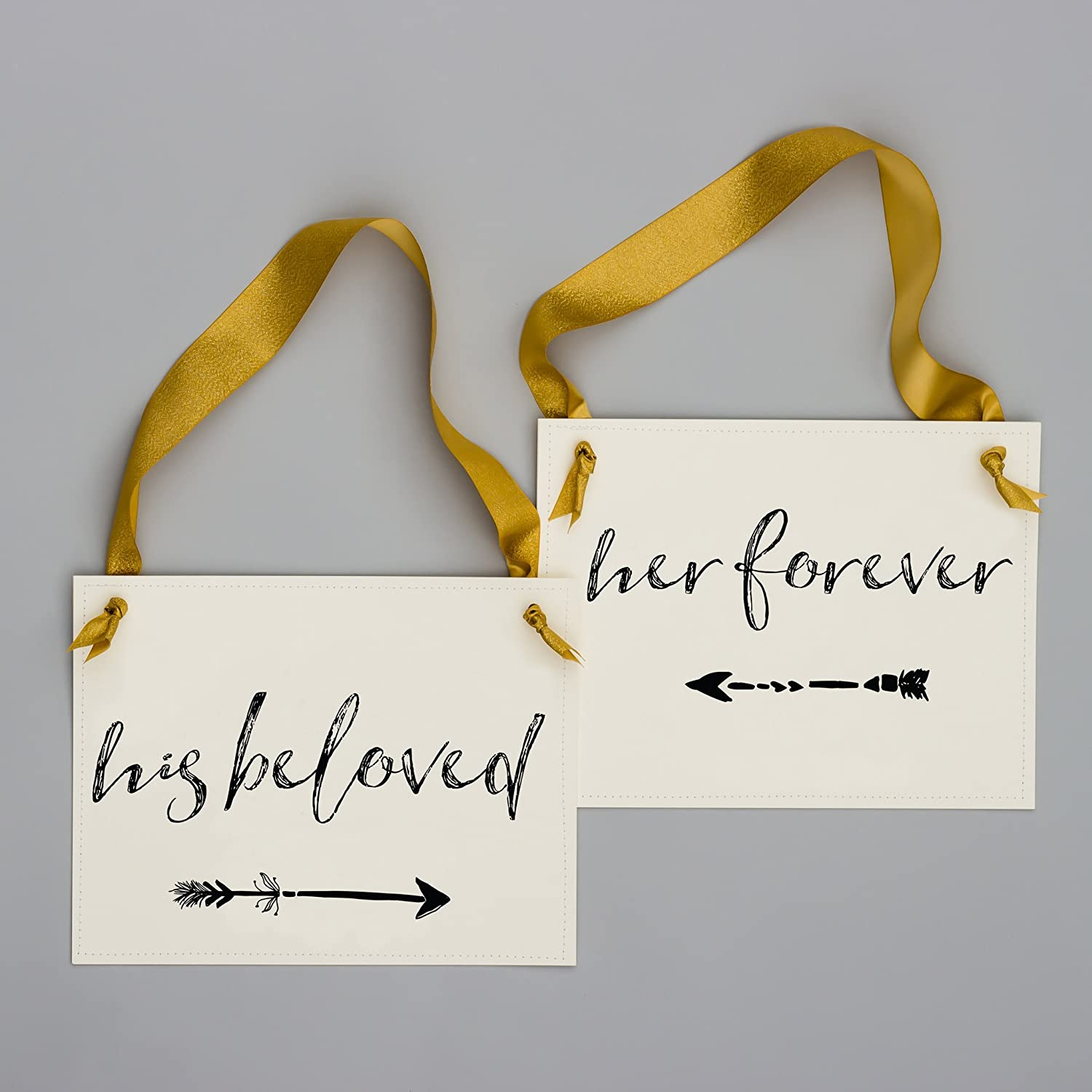 His Beloved Her Forever Chair Signs for Bride /& Groom Set of 2 Wedding Signs