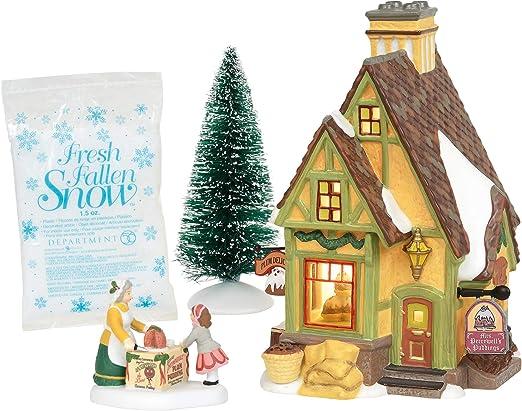 Department 56 Dickens A Christmas Carol Poulterers Shop Lit Building and Fresh Fallen Snow Village Set Multicolor