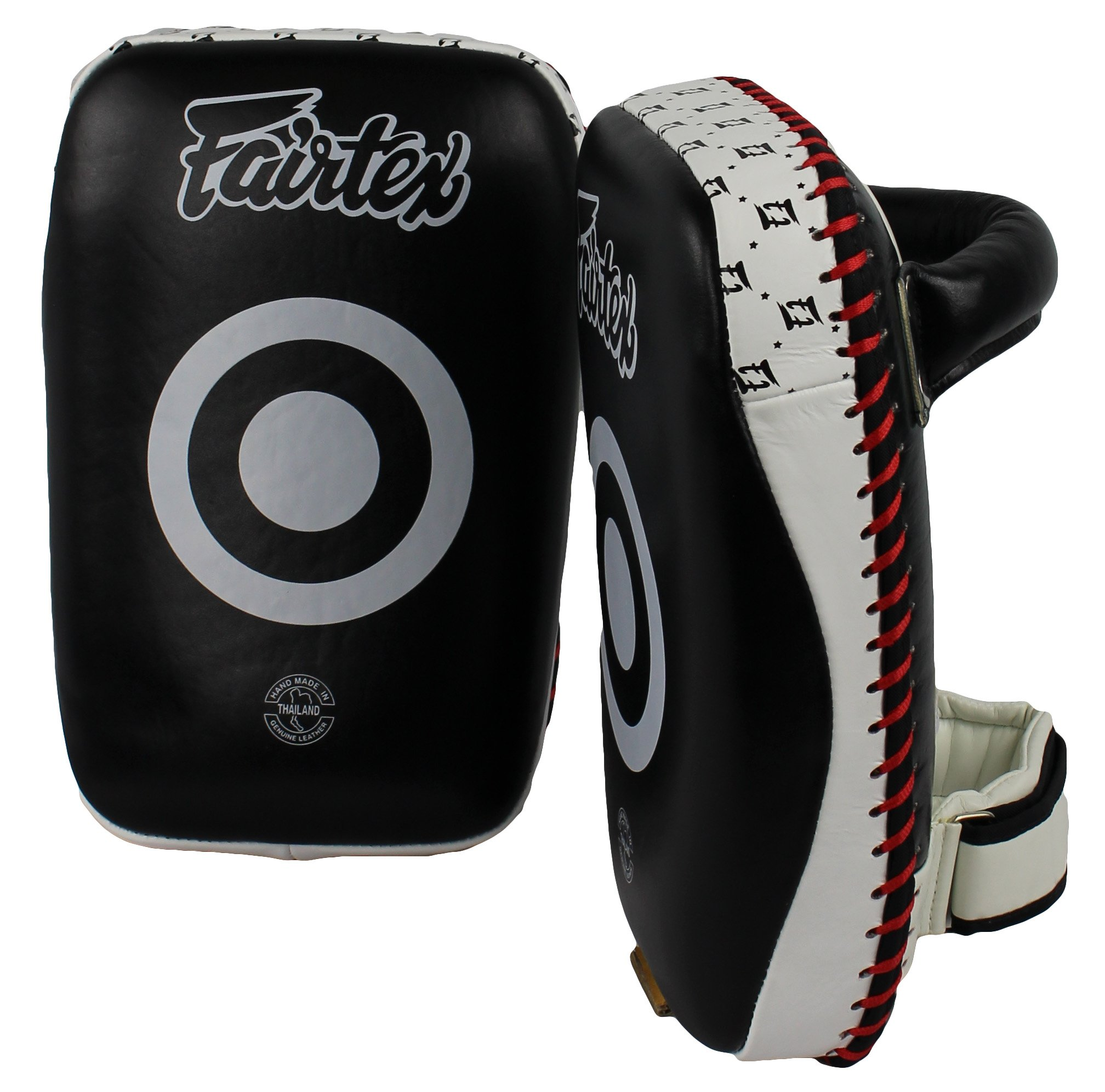 Fairtex Curved Kick Pads, Black/White by Ringside