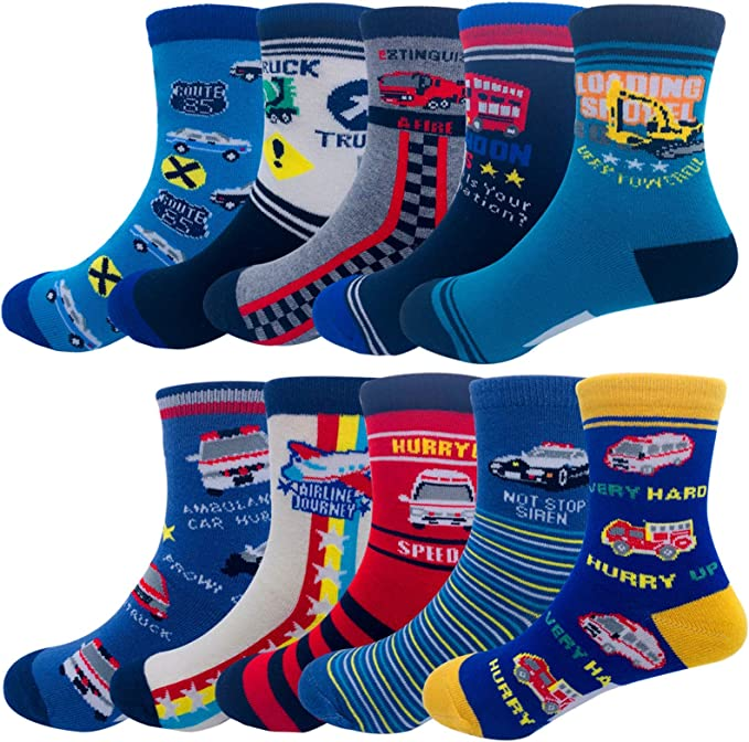 Boys Crew Socks Non Slip Ankle Socks Athletic Socks with Cartoon Car Pattern 5 Pair