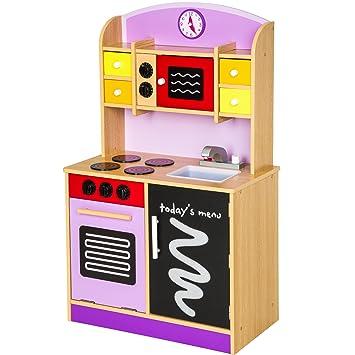 tectake cocina de madera de juguete para nios juguete juego de rol toy prpura