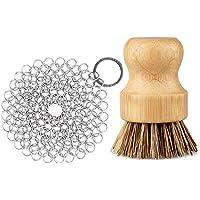GAINWELL Rostfritt stål Chainmail skrubbset gjutjärnsrengörare 10 cm med rengöringsborstar i trä