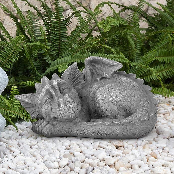 DBassinger Dragon Garden Statue Adorable Sleeping Baby Dragon Stone Finish Figurine, for Home Decor Outdoor Decoration