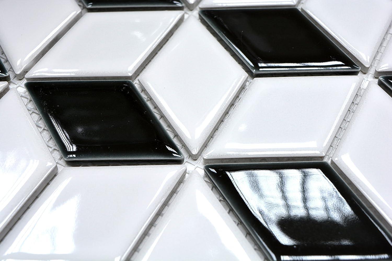 10 tapis mosa/ïque Carrelage noir 3D cube noir brillant Carrelage mosa/ïque en c/éramique