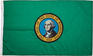 product image for Valley Forge, Washington State Flag, Nylon, 3' x 5', 100% Made in USA, Canvas Header, Heavy-Duty Brass Grommets