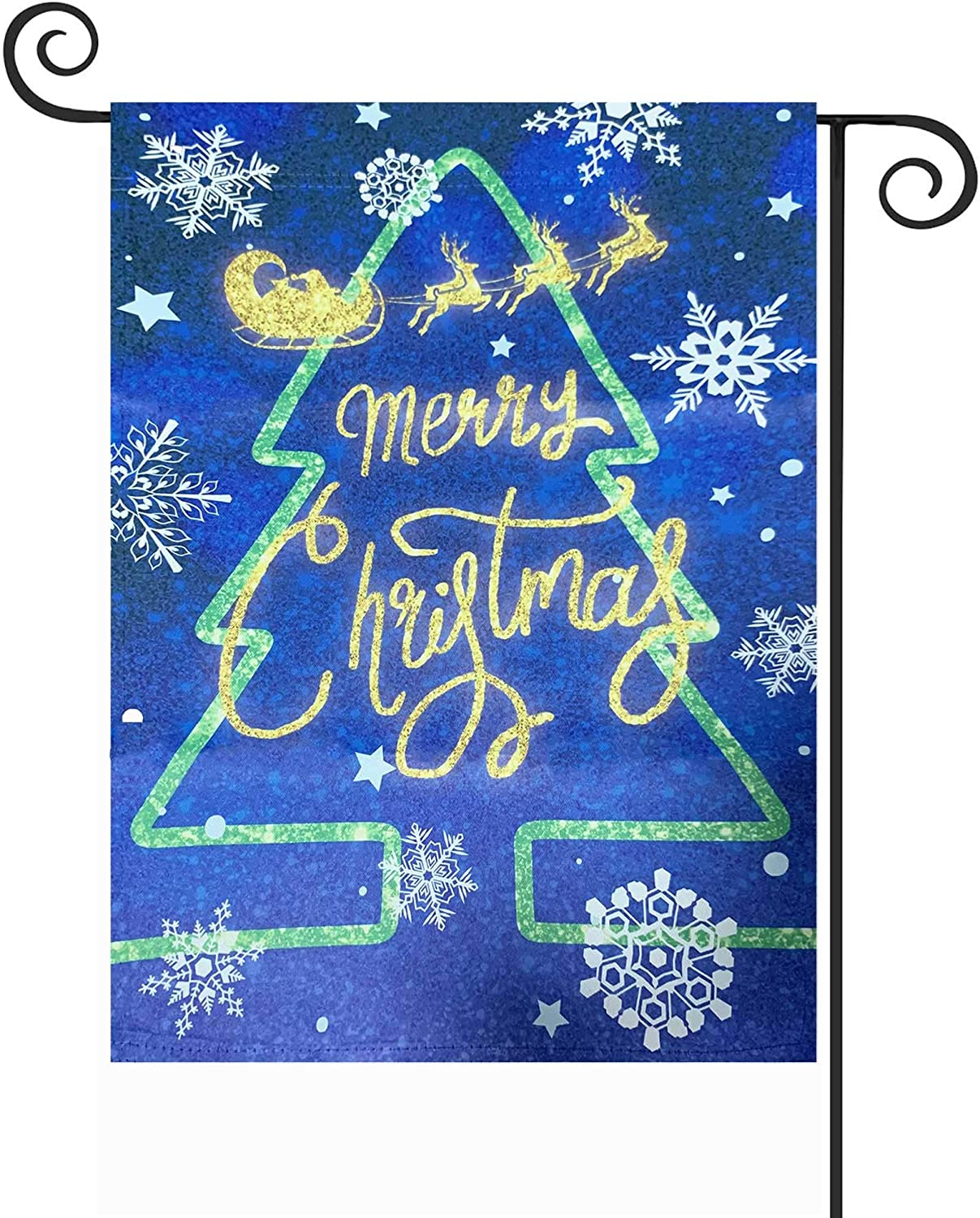 """TOPFLAGS Merry Christmas Tree Reindeer Snowflakes Garden Yard Flag 12.5""""x 18"""" Double Sided Polyester Outdoor Indoor Xmas Decoration"""