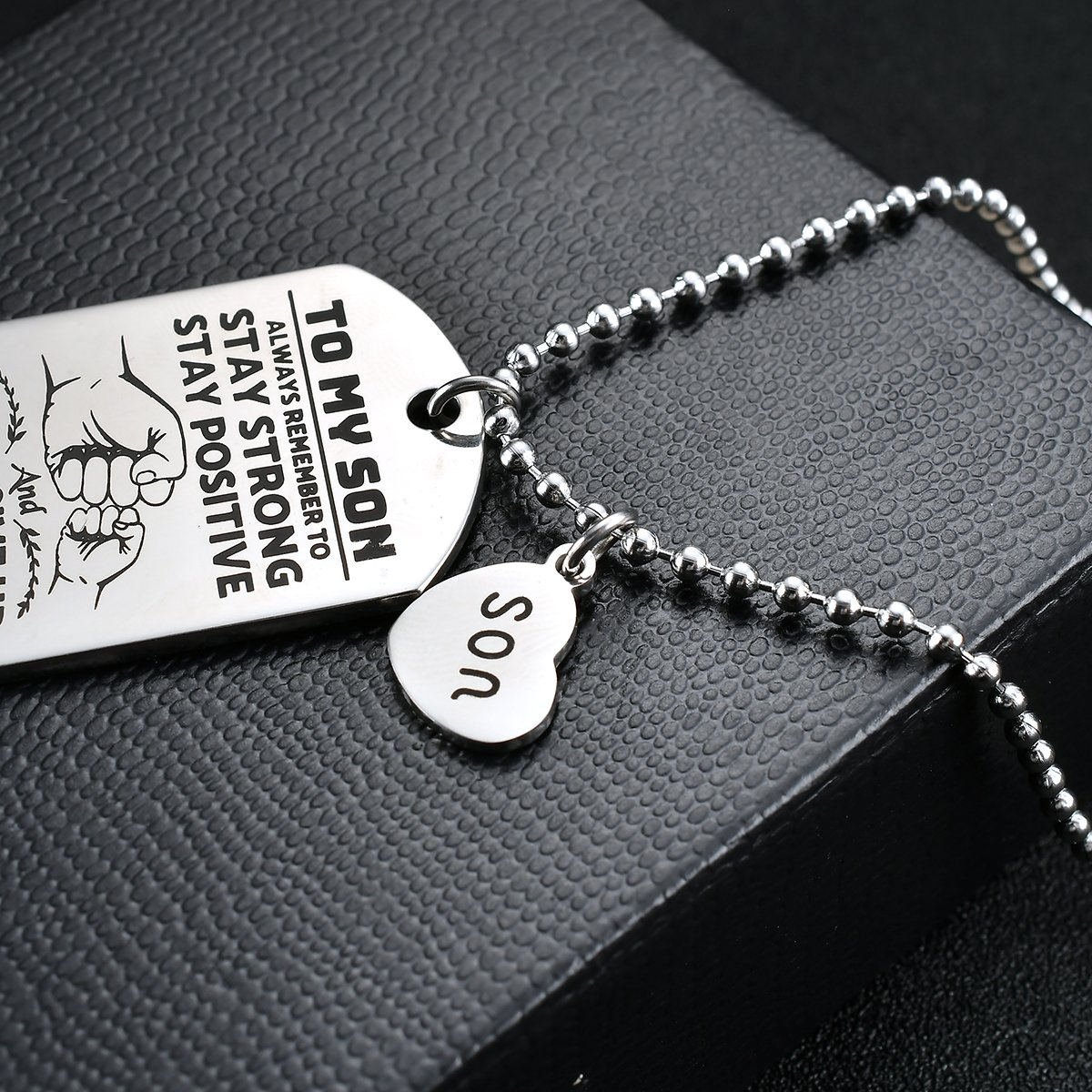 NOVLOVE To My Son from dad Never Forget That I Love Dad You Dog Tag Father Daddy Stay Positive Never Give Up Quotes Military Air Force Navy Necklace Gift Best Son Birthday Graduation by NOVLOVE (Image #6)