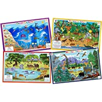Tot Talk Animals Nature- Educational Kids Placemats- 4 Table Mats: Ocean, Jungle, Savanna, Mountain Animals- Reversible…
