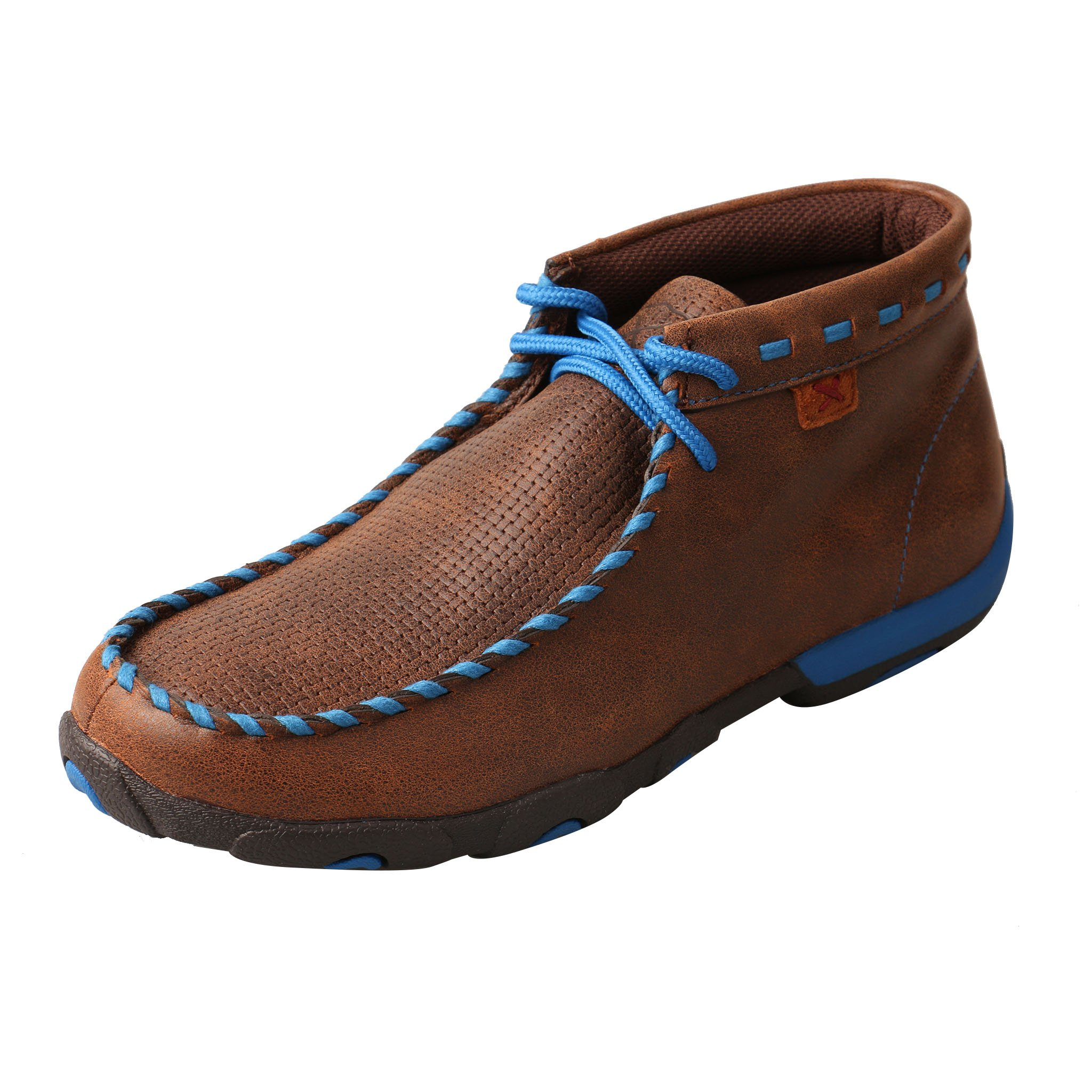 Twisted X Boots Women's WDM0052 Driving Moc,Brown/Blue Leather,US 7.5 M by Twisted X