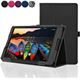 ACdream Lenovo TAB3 8 Case, Folio Protective Premium Leather Tablet Case for Lenovo TAB3 8 inch Tablet(2016 release), Black