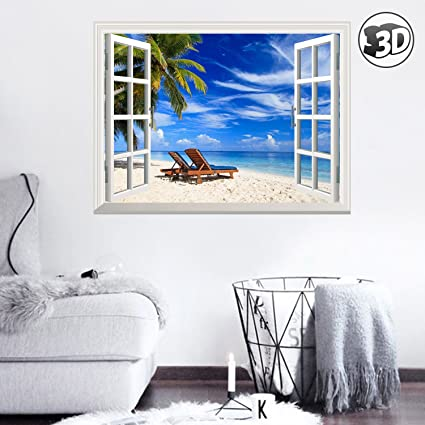 Delightful Uniquebella 3D Tropical Beach With Chairs And Palm Tree Wall Murals Stickers  Removable Wall Art Decals