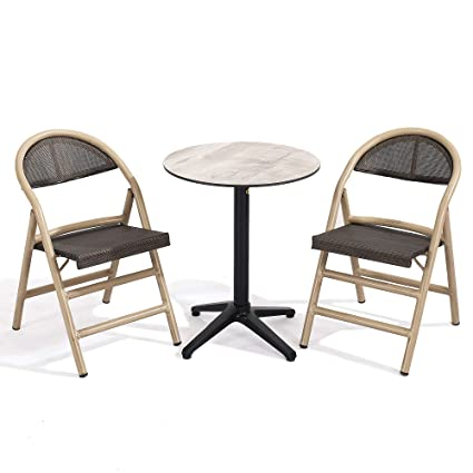 Small Round Table With Chairs.Amazon Com D Garden Small Dining Table Set For 2 Foldable Chairs