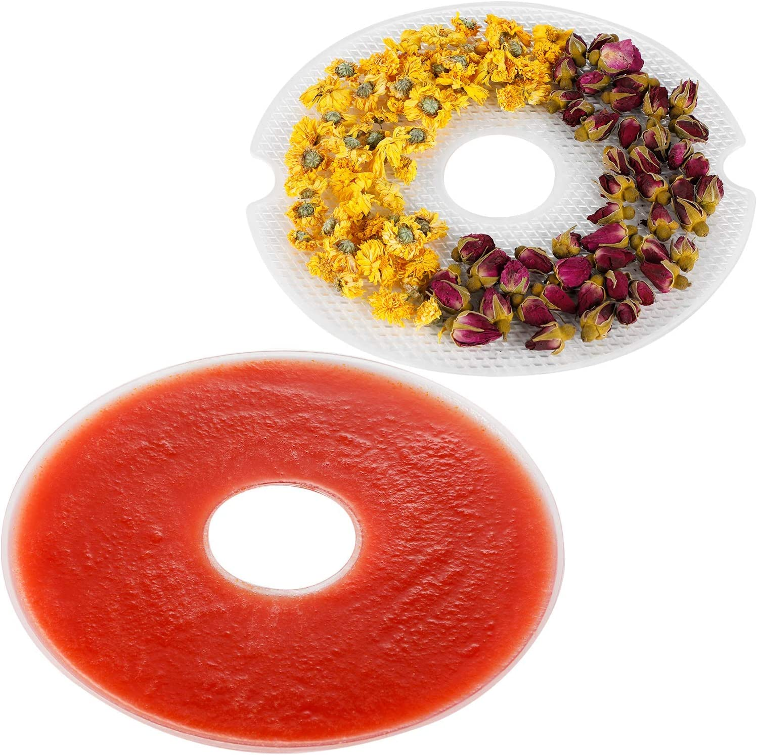 Elechomes Round Fruit Roll Sheet and Mesh Screen for UH0401 Food Dehydrator 10