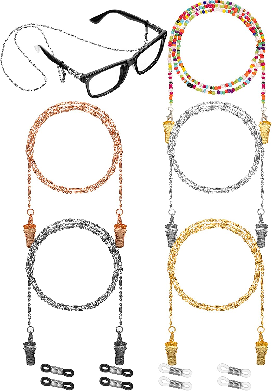 5 Pezzi Cinturino di Supporto Copertura Viso Collana di Perline Catena Occhiali Corde Cordini per Occhiali da Sole Fermo Occhiali
