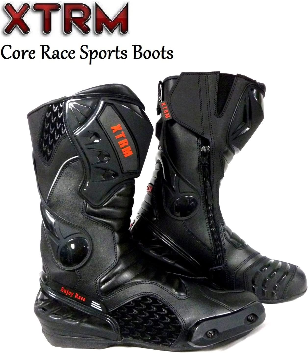XTRM MOTORBIKE CORE ADULT BOOTS Motorcycle On Road Quad Racing Touring Sports CE Armour Boots Black