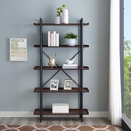 WE Furniture AZS68UPDW Mixed Material Bookshelf 68quot Dark Walnut