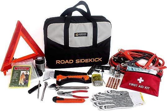 Emergency Roadside Kit 124 Pieces HAIPHAIK Emergency Roadside Toolkit Upgrade Multipurpose Emergency Pack Car Premium Road Kit Essentials Jumper Cables Set 11.8 Foot
