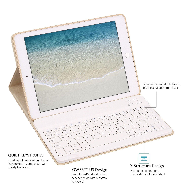 Clavier Bluetooth sans Fil V3.0 Amovible Magn/étiquement GOOJODOQ Clavier Case pour iPad 2018//2017 9.7// iPad Air Soft TPU Couverture du Support Arri/ère Affichage Angle R/églable