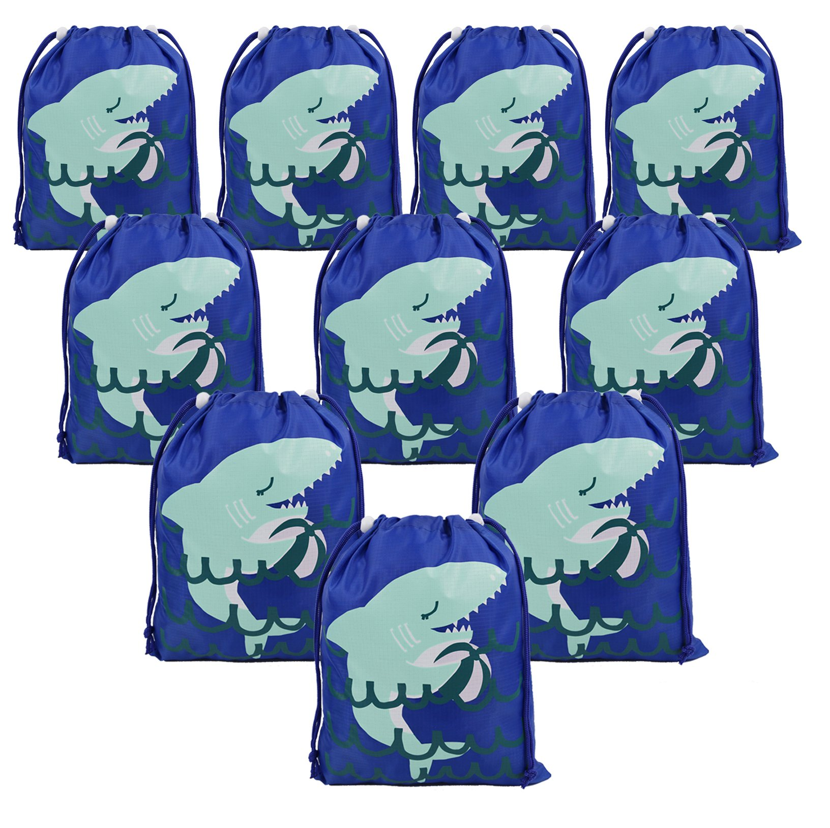 Shark Party Supplies Favors Bags for Kids Boys Girls, 10 Pack Drawstring Goodie Treat Bags for Birthday Party Gifts by BeeGreen
