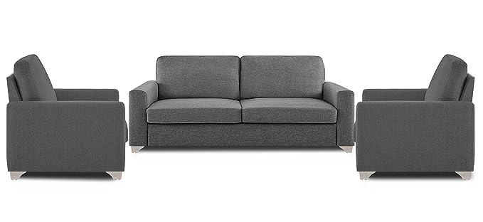Adorn India Straight Line Five Seater Sofa Set 3-1-1 (Grey)