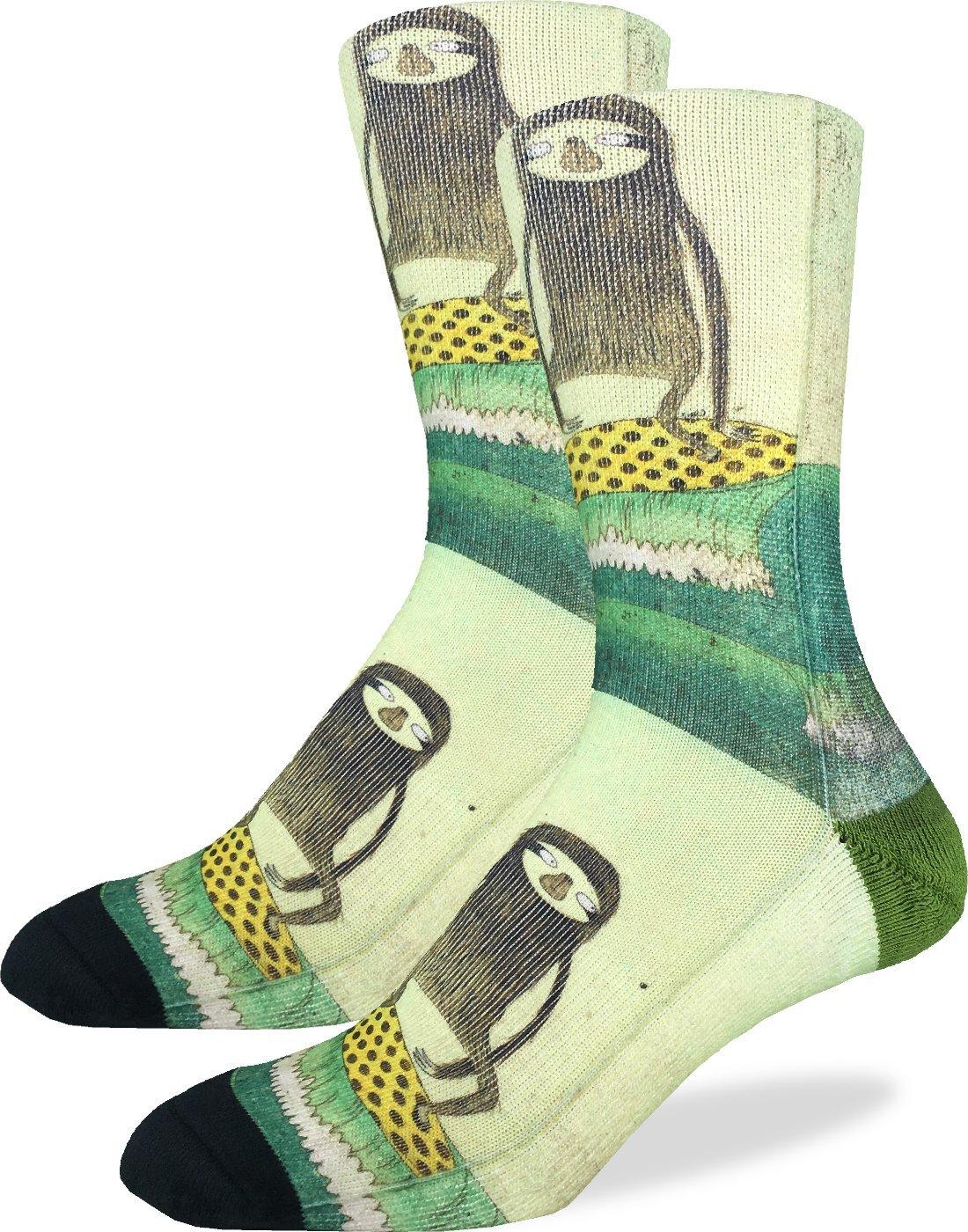 Good Luck Sock Men'S Surfing Sloth Crew Socks - Green, Adult Shoe Size 8-13 -