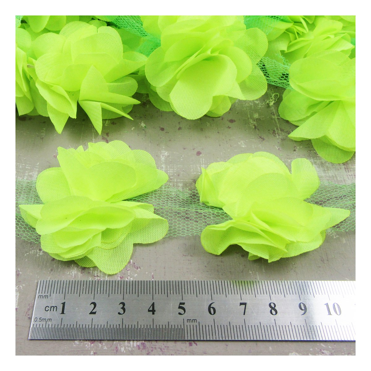 Beads4crafts 1 METRE CHIFFON FLOWER TRIM *23 COLOURS* FABRIC HABERDASHERY CRAFT (Black H2663)