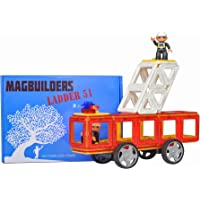 Magbuilders Magnetic Tile Fire Truck Toy - 34 Large Pieces