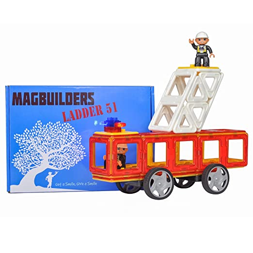 Magbuilders Magnetic Tile Fire Truck Toy - 34 Large Pieces including 2 Firemen and Flashing Siren, Strong magnets make it easy for your little fireman to build