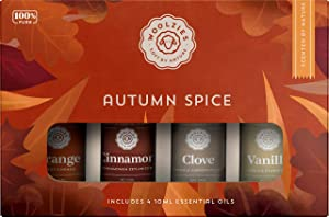 Woolzies 100% Pure Autumn Spice Essential Oil Collection of 4 | Orange, Cinnamon, Clove, Vanilla Oils | Uplifting, Maintains a Healthy Immune System | For Diffusion Internal, or Topical Use