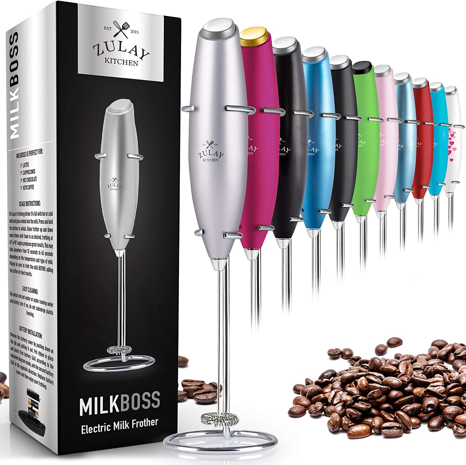 Zulay Original Milk Frother Handheld Foam Maker for Lattes - Whisk Drink Mixer for Bulletproof Coffee, Mini Foamer for Cappuccino, Frappe, Matcha, Hot Chocolate by Milk Boss (Silver)