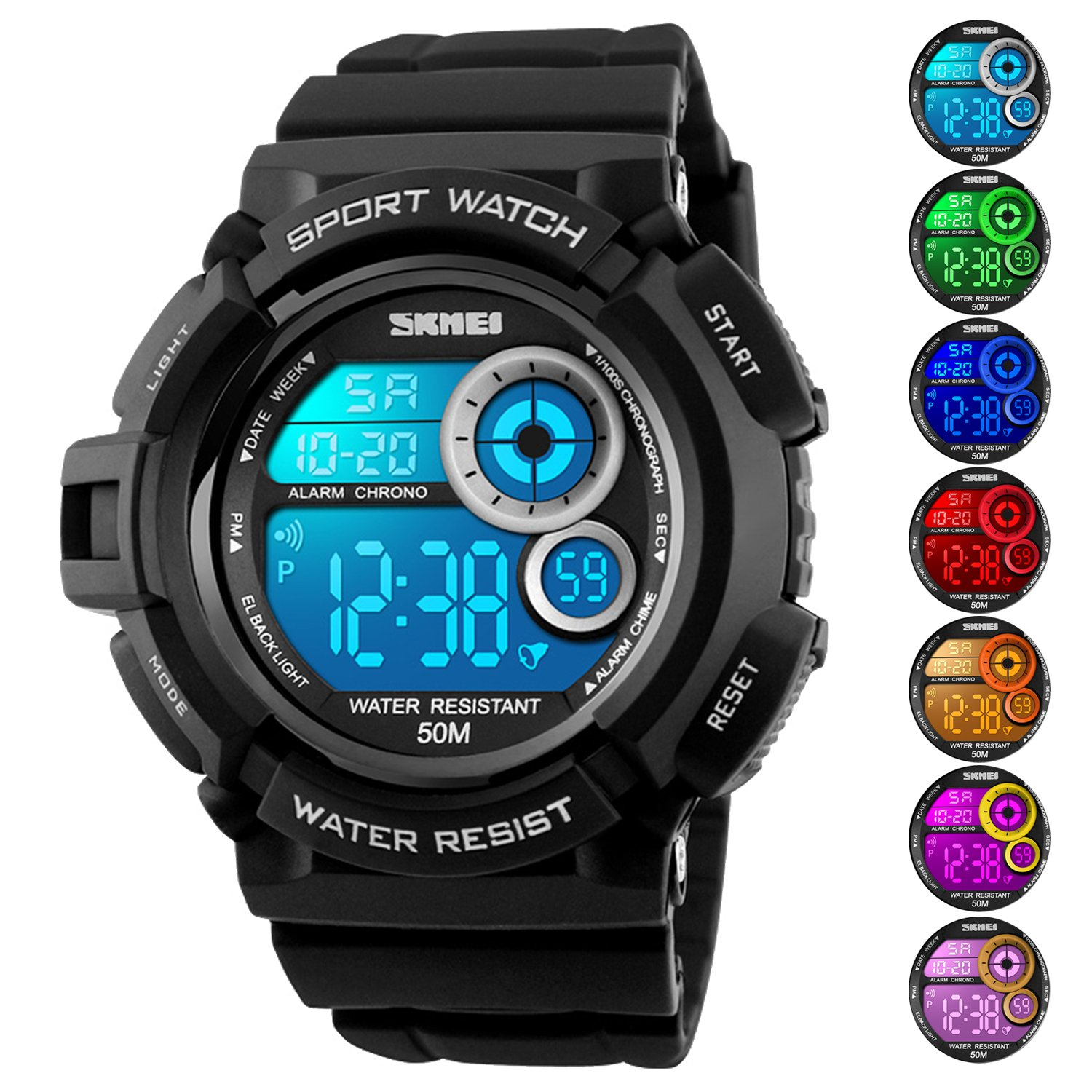 Men's Digital Sports Watch LED Screen Large Face Military Watches and Waterproof Casual Luminous Stopwatch Alarm Simple Army Watch Black