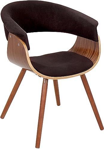 WOYBR Bent Wood, Woven Fabric Vintage Mod Chair, Walnut Espresso