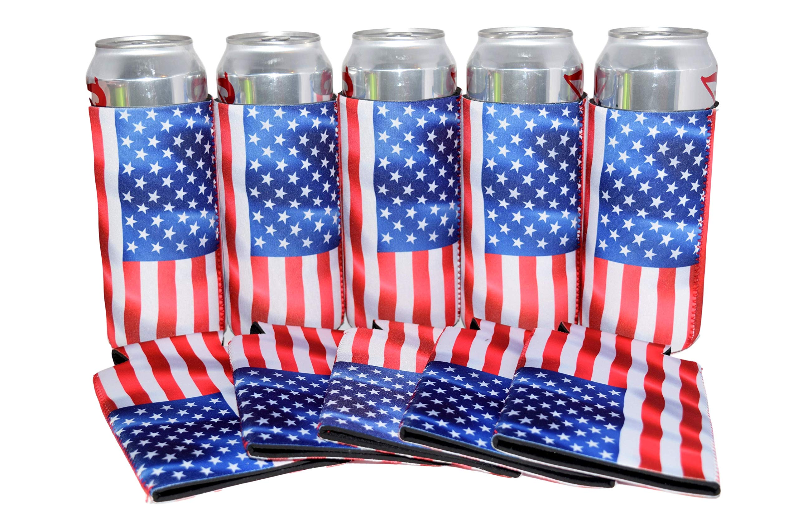 QualityPerfection US American Flag Tallboy Neoprene 24oz Beer Can Coolers Sleeves,Reversible Economy Bulk Insulation with Stitched Perfect 4 Prty Supply,Independence,BBQ,Gifts,Event (USA Flag Wind, 6)