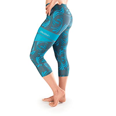 BioSkin Perfect Fit Running Compression Capris, 3/4 Leggings With Phone Pocket- Blue
