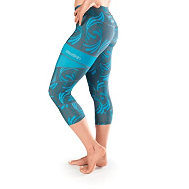 dd5c31fdffb29 South Sister Compression and Running Capris / Cropped Leggings - Corsica  Waves (XS)