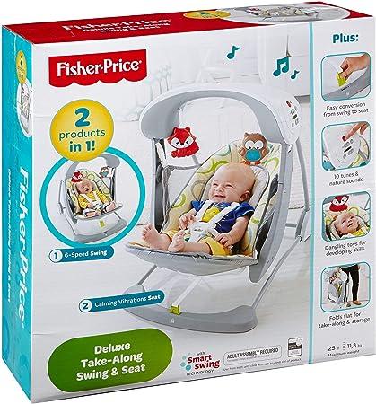 Fisher-Price - Columpio hamaca portable 2 en 1 - juguetes bebe - (Mattel CCN92)