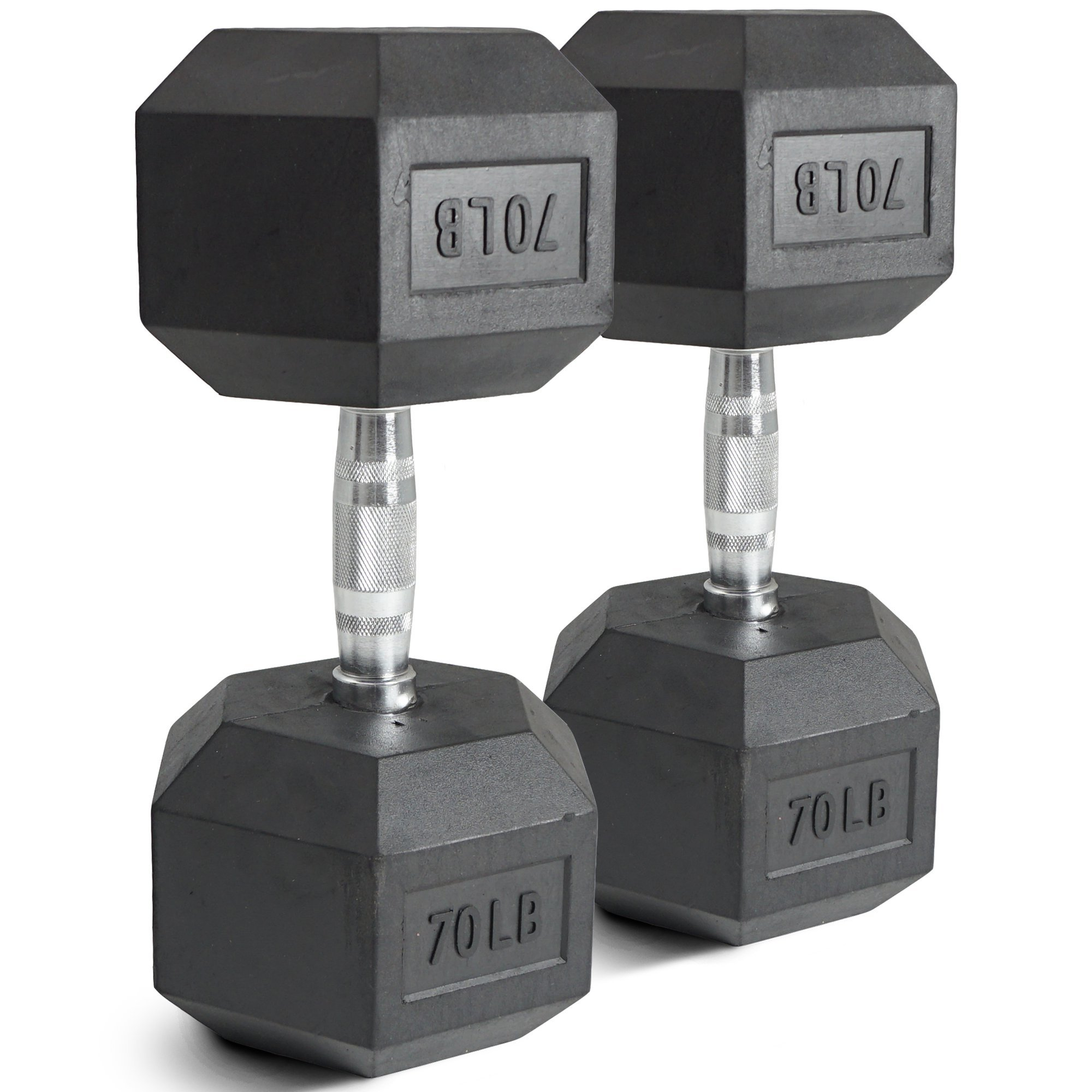 Pair 70 lb Black Rubber Coated Hex Dumbbells Weight Training Set 140 lb Fitness by Titan Fitness (Image #1)